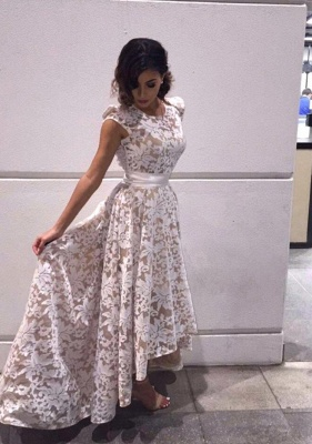 White Evening Dresses With Sleeves Short Long Evening Wear Prom Dresses_1
