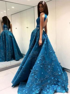 Elegante Abendkleider Lang Spitze Günstig A Linie Abiballkleider Abendmoden Online_1