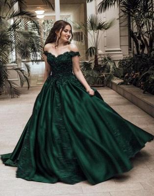 Günstige Grüne Abendkleider Lang Mit Spitze Prinzessin Bodenlang Abendmoden Online_1