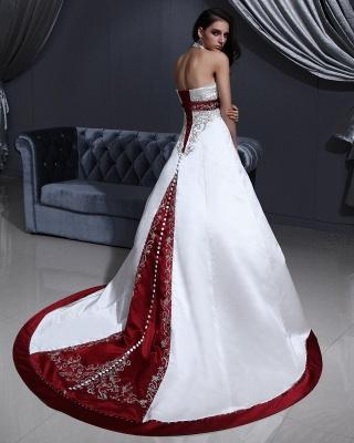 Burgundy white wedding dresses with train a line wedding dresses wedding fashions_4