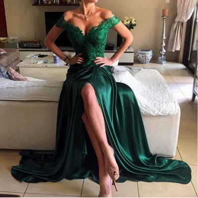 Turquoise Evening Dresses Long With Lace Off Shoulder Mermaid Evening Wear Party Dresses_4