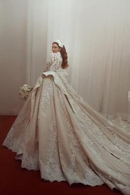 Fashion Champagne Brautkleider Mit Ärmel Spitze Hochzeitskleider Günstig_1