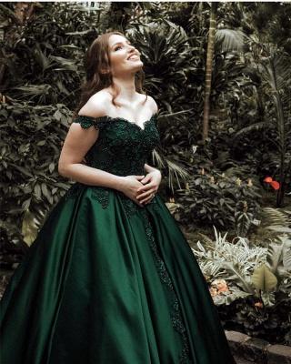 Günstige Grüne Abendkleider Lang Mit Spitze Prinzessin Bodenlang Abendmoden Online_2