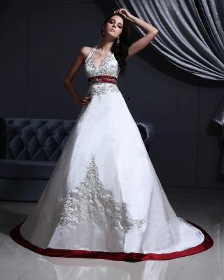 Burgundy white wedding dresses with train a line wedding dresses wedding fashions_5