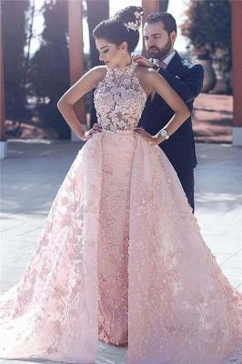 Luxurious Rosa Abendkleider Spitze A linie Abendmoden Abiballkleider Günstig_1