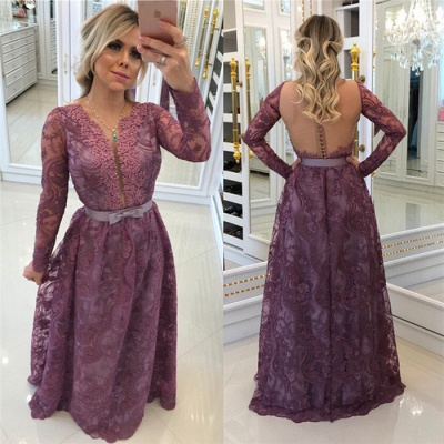 Elegant long sleeves evening dresses with lace sheath dress prom dresses online_2