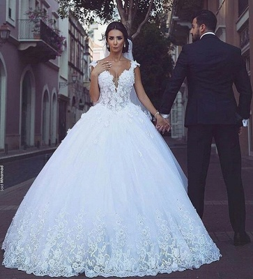 Princess wedding dresses lace white heart organza bridal wedding dresses_2