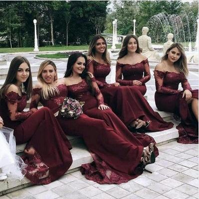 Weinrot Brautjungfernkleider Lang Günstig | Chiffon Spitze Kleider Online_2