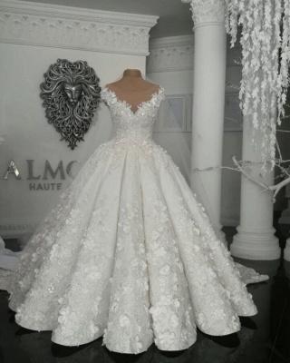 Designer Brautkleider Mit Spitze Blumen Weiße Hochzeitskleider online_1