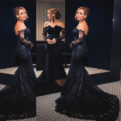 Elegant black evening dresses with sleeves mermaid lace prom dresses long cheap_2