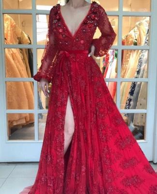 Luxury Rot Abendkleider Spitze Lang Ärmel A Linie Abendmoden Abiballkleider Günstig_1