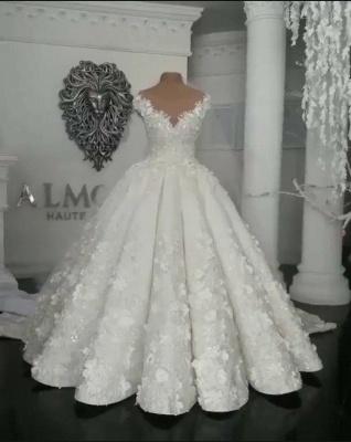 Designer Brautkleider Mit Spitze Blumen Weiße Hochzeitskleider online_2