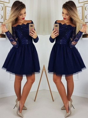 Designer cocktail dresses short with lace | Evening dresses with sleeves_2