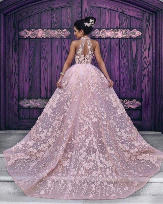 Luxurious Pink Evening Dresses Lace A Line Evening Wear Prom Dresses Cheap_2