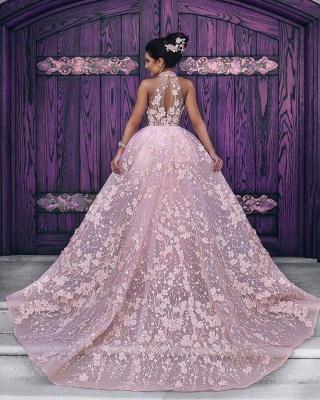 Luxurious Rosa Abendkleider Spitze A linie Abendmoden Abiballkleider Günstig_2