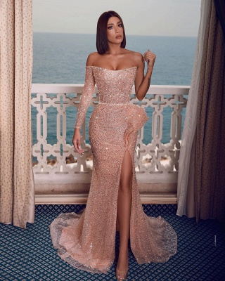 Long glitter prom dresses | Evening dresses with sleeves_1