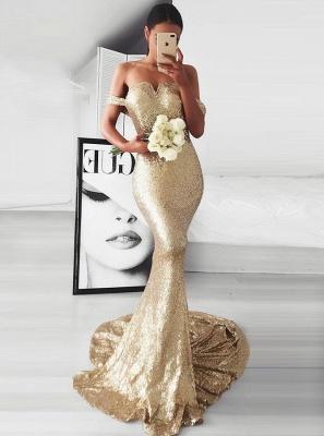 Golden evening dresses long cheap sequins mermaid prom dresses cheap online_2