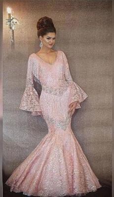 Luxurious Rosa Abendkleider Lang Günstig Pailletten Abiballkleider Mit Ärmel_3
