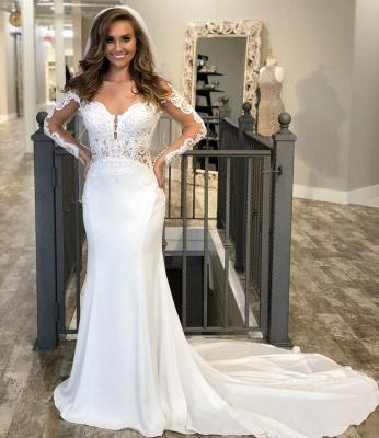 Hochzeitskleid Meerjungfrau Spitze Vintage | Brautkleider mit Ärmel_2