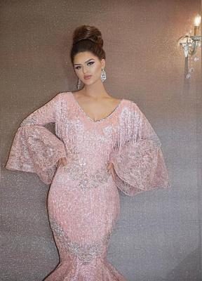 Luxurious Rosa Abendkleider Lang Günstig Pailletten Abiballkleider Mit Ärmel_2