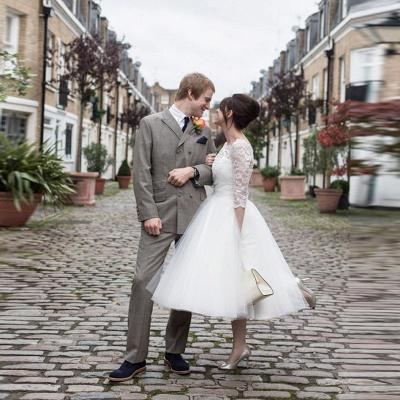 Weiß Brautkleider Kurz Mit Spitze Lang Ärmel Hochzeitskleider_3