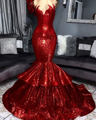 Fashion evening dresses long red | Evening dress with glitter_1