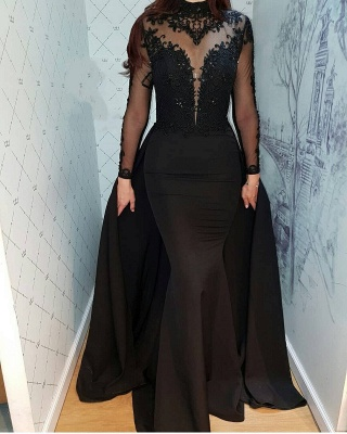 Cheap Evening Dresses Long Black | Lace evening dress with sleeves_1