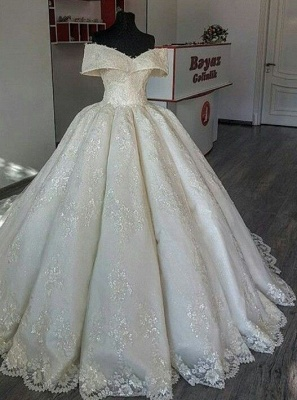 Fashion A Line Wedding Dresses Cream With Lace Cheap Wedding Gowns Online_1