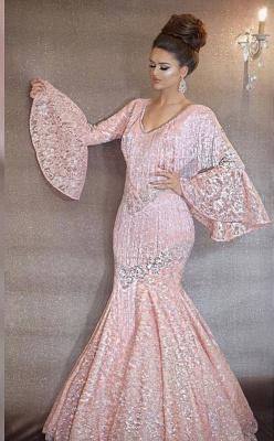 Luxurious Rosa Abendkleider Lang Günstig Pailletten Abiballkleider Mit Ärmel_1