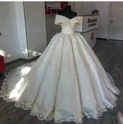 Fashion A Line Wedding Dresses Cream With Lace Cheap Wedding Gowns Online_2