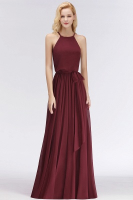 Designer Brautjungfernkleider Lang Chiffon Dunkel Rot Kleider für Brautjungfern_1