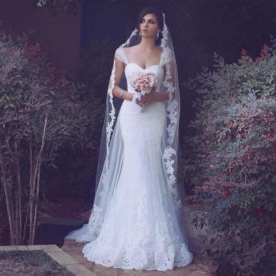 Meerjungfrau Weiß Brautkleider Spitze Lang Hochzeitskleider Günstig Online_2