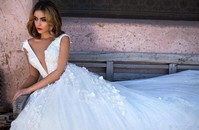Simple wedding dress A line | Wedding dress princess glitter tulle_5