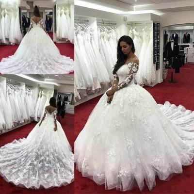 Fashion Brautkleider Mit Ärmel | Günstige Hochzeitskleider Spitze Prinzessin_4
