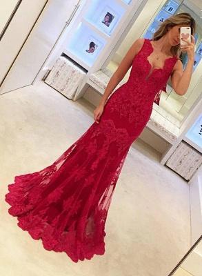 Rot Abendkleider Lang Günstig Spitze Meerjungfrau Abendmoden Abiballkleider_1