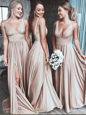 Fashion Champagne Lange Brautjungfernkleider Günstig Online Kleider für Brautjungfer_1