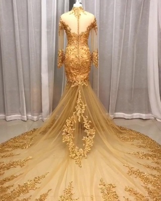 Luxury Wedding Dresses Lace Gold | Wedding dresses with sleeves glitter_2