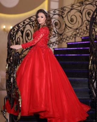 Preiswerte Hochzeitskleider Rot | Prinzessin Brautkleid Mit Spitzeärmel_1