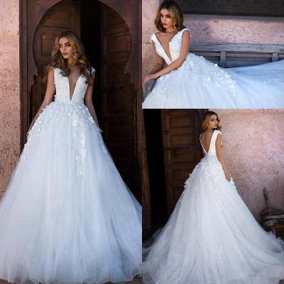 Schlichtes Brautkleid A Linie | Hochzeitskleid Prinzessin Glitzer Tüll_2