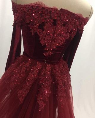 Elegant Wine Red Evening Dresses Long Sleeves Velvet Prom Dresses Cheap Online_5