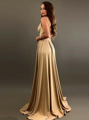 Fashion Champagne Lange Brautjungfernkleider Günstig Online Kleider für Brautjungfer_2