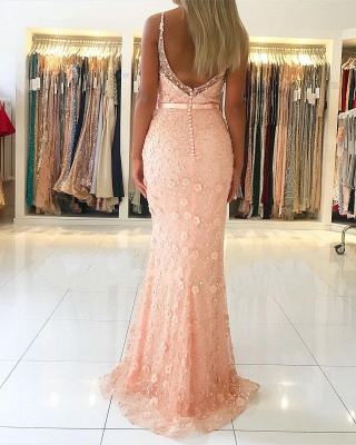 Luxury evening dresses long pink | Prom dresses lace online_2