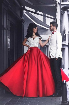 2 piece evening dresses red white long with lace cheap evening wear_1