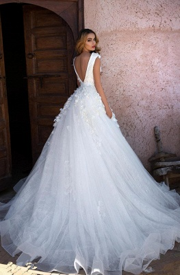 Simple wedding dress A line | Wedding dress princess glitter tulle_4