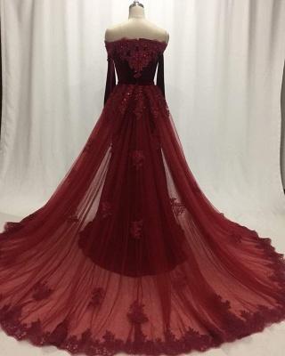 Elegant Wine Red Evening Dresses Long Sleeves Velvet Prom Dresses Cheap Online_4