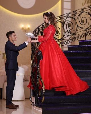 Preiswerte Hochzeitskleider Rot | Prinzessin Brautkleid Mit Spitzeärmel_2