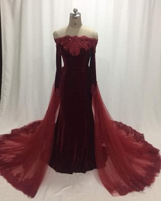 Elegant Wine Red Evening Dresses Long Sleeves Velvet Prom Dresses Cheap Online_1