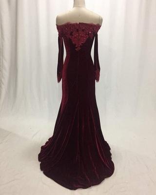 Elegant Wine Red Evening Dresses Long Sleeves Velvet Prom Dresses Cheap Online_3