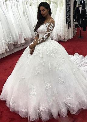 Fashion Brautkleider Mit Ärmel | Günstige Hochzeitskleider Spitze Prinzessin_1