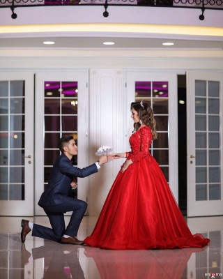Inexpensive wedding dresses red | Princess wedding dress with lace sleeves_4